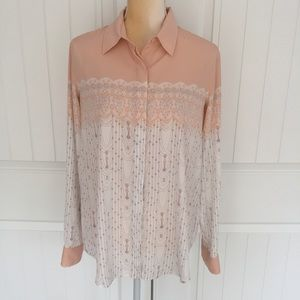 LC Lauren Conrad button up blouse size medium